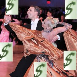 Ballroom Dance Couple with Dollar Signs