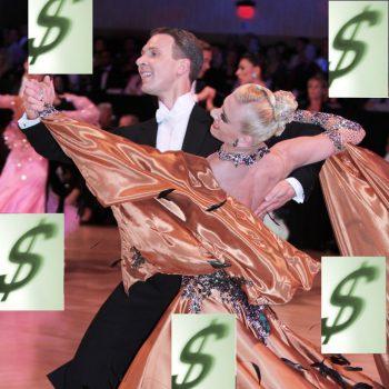 Ballroom Dance Couple with Dollar Signs