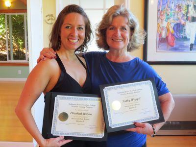 Elizabeth Wilson and ballroom training buddy, Kathy Wappel, show off their BDTC graduation certificates!